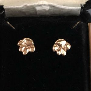 14k gold cat or dog paw earrings.